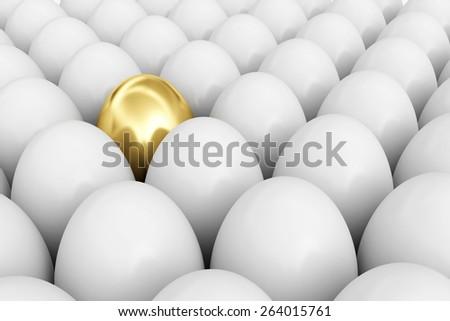 Symbol of rich life. Golden egg among white eggs - stock photo