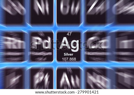 Symbol of silver on the periodic table of elements. Motion effect. - stock photo