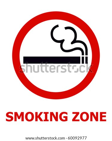 Symbol of Smoking Zone Sign isolated on White - stock photo