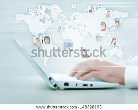 Symbol of social network with people images - stock photo