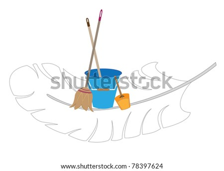 Symbol of the company carrying out cleaning - stock photo
