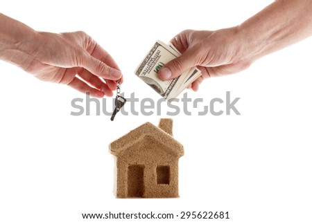 Symbol of the house, the broker and the buyer. Good deal - for sale or lease. - stock photo