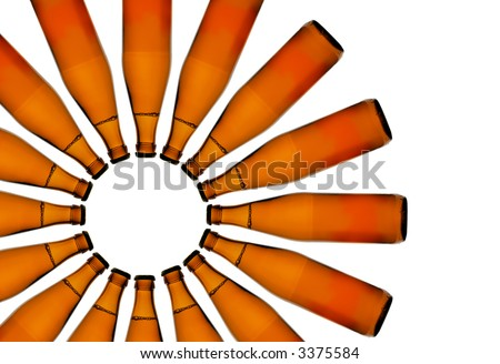 Symbol of the Sun made from beer bottles - stock photo