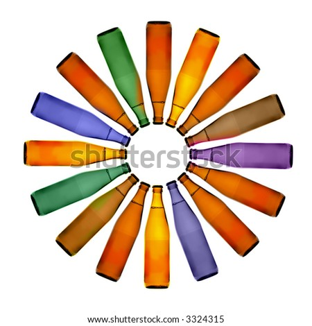 Symbol of the Sun made from colorful bottles - stock photo
