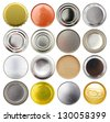 symbol of tin bottom and top cans - stock photo