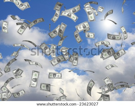 Symbol of wealth and success -  rain from dollars - stock photo