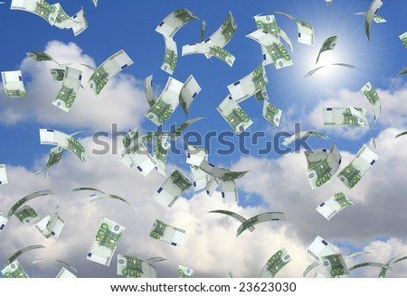 Symbol of wealth and success -  rain from euro - stock photo