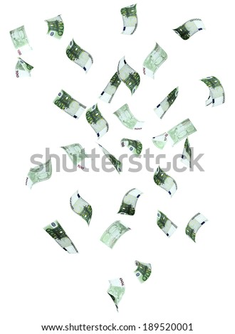 Symbol of wealth and success - rain from euro banknotes. Isolated on white background