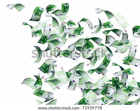 Symbol of wealth and success -  rain from euro. Isolated over white - stock photo