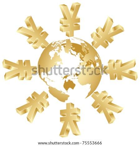 symbol of yen around the world - stock photo