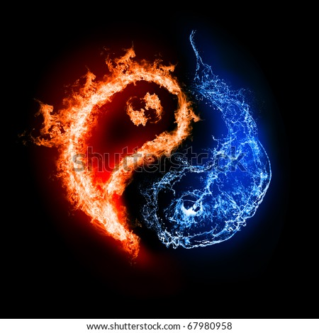 Symbol of yin and yang of the dark background in the form of fire and water. The sign of the two elements. - stock photo