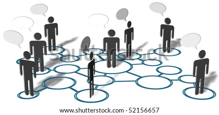 Symbol people talk in network of social media connection nodes. - stock photo