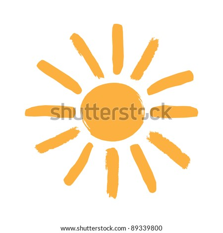 Symbol sun in the form children's drawing. Raster version - stock photo