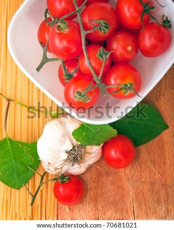 Symbolic arrangement of the Italian cuisine - pasta, top view - stock photo
