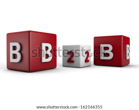 Symbolic B2B Business to Business over white Background - stock photo