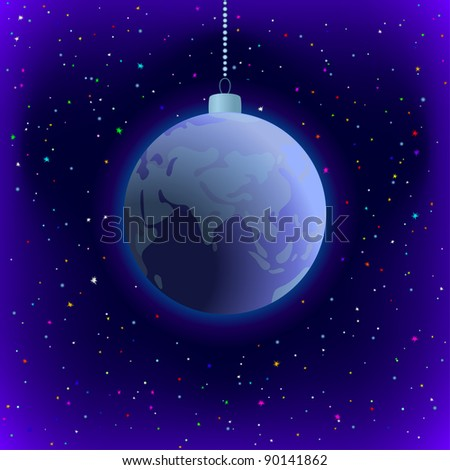 Symbolic background, planet Earth in space, as Christmas decoration - stock photo