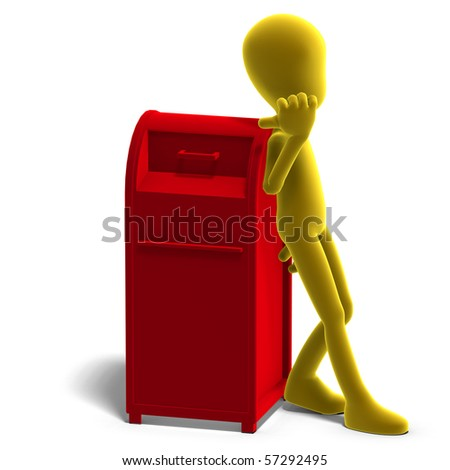 symbolic 3d male toon character say that you should drop your mail here. 3D rendering with clipping path and shadow over white - stock photo