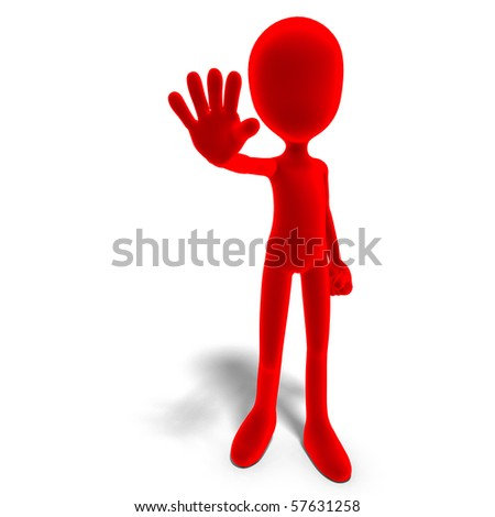 symbolic 3d male toon character says stop. 3D rendering with clipping path and shadow over white - stock photo