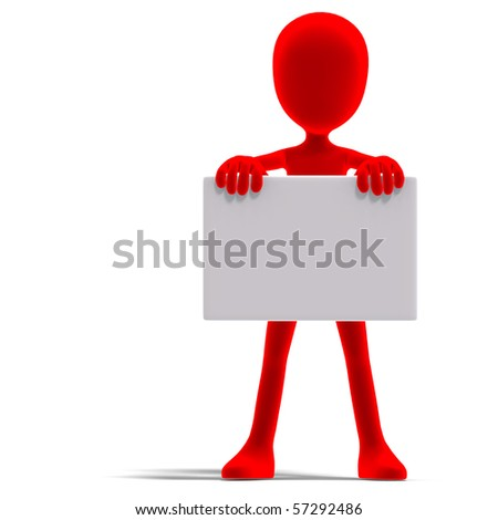 symbolic 3d male toon character show something with a blank sign. 3D rendering with clipping path and shadow over white - stock photo