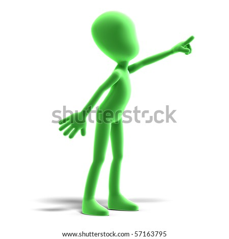 symbolic 3d male toon character show us the direction. 3D rendering with clipping path and shadow over white - stock photo