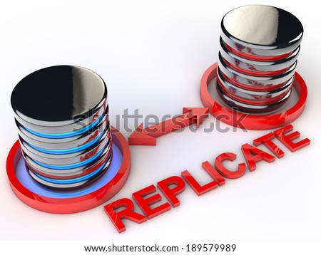 Symbolic Data replication over white background - stock photo