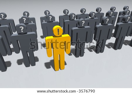 symbolic figures, one in front of the others, expressing knowledge - stock photo