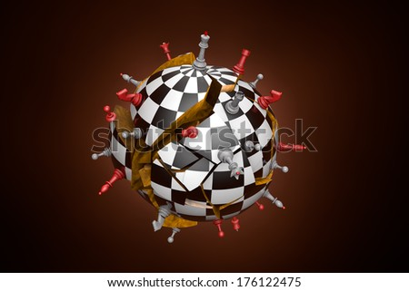 Symbolic frame (cracked and falling ball chess chess).  - stock photo