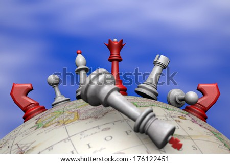 Symbolic frame (political upheaval). Chess on the globe. - stock photo