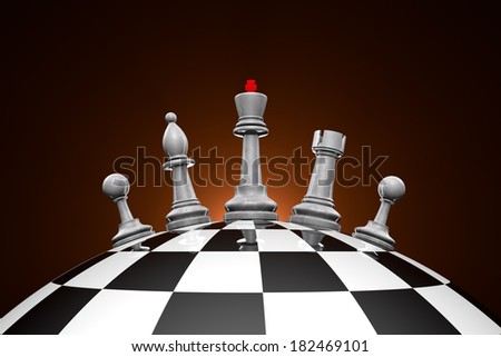 Symbolic frame (world order). Chess pieces on a chess field.  - stock photo