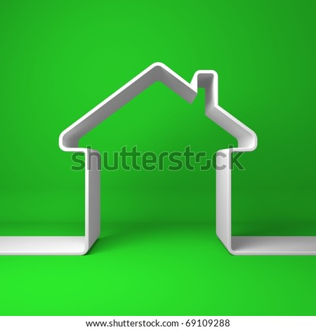 Symbolic house on the coloured background