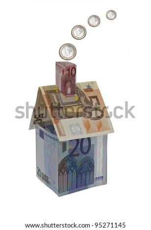 Symbolic house represented in Euros - stock photo