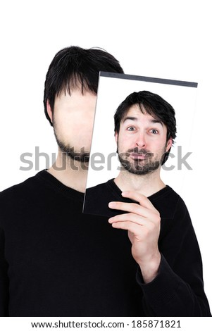 symbolic image of a man holding his face showing changes according to the mood and situation of what seems to be affordable to match the social context. - stock photo