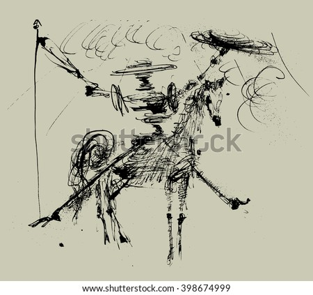 Symbolic image of Don Quixote and his horse  