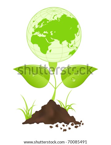 Symbolic image with green earth globe and leaves. - stock photo