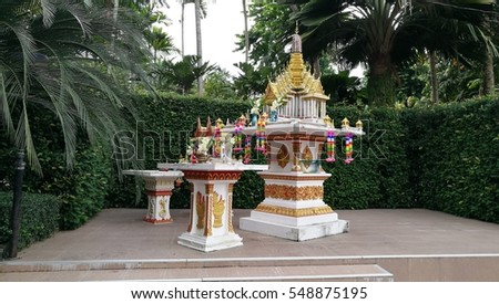 Symbolic of God home, Spirit Houses, Shrine of the household god, normally consist of one pole for beautiful small house and place for pray god by giving food and fruits every day in the morning.