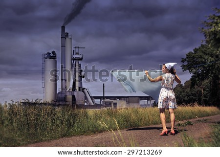symbolic picture for living in proximity to industry - stock photo