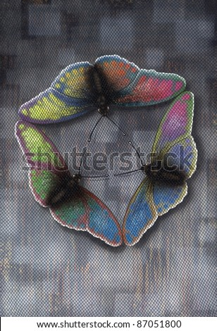"symbolic picture painted by me, named ""Butterflies Flight"". It shows a circular arrangement of 3 colorful butterflies under fine dark netting"