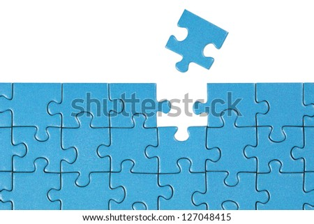 Symbolic picture showing the solution for a problem with a puzzle - stock photo