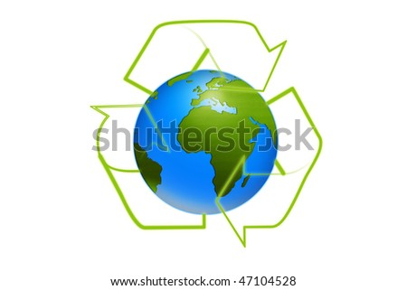 symbolic recycling sign on earth isolated on white background