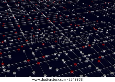 symbolic rendering of a complex network - stock photo