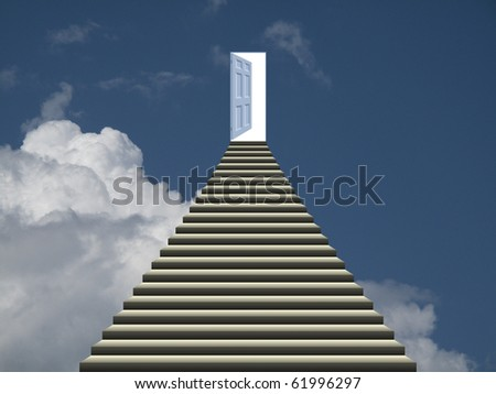 Symbolic representation of stairway and open door into heaven - stock photo