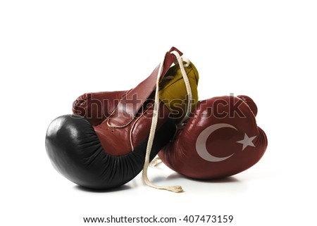 symbolic representation of the differences between Turkey and Germany - stock photo