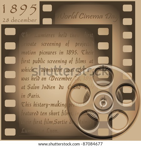 Symbolic representation of the text and film reels of old film projector - stock photo