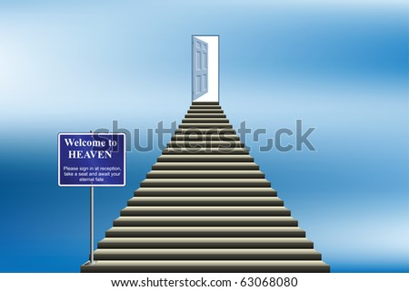 Symbolic stairway with sign welcoming you into heaven - stock photo