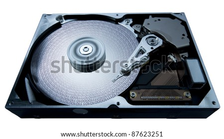 symbolic studio photography showing the detail of a opened hard disk, blue toned