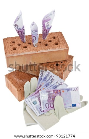 symbolist construction, financing, building society. brick and â?¬ - stock photo