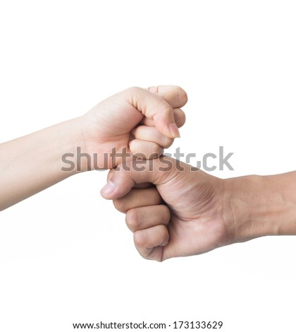 Symbolize the hands of woman and man isolated on a white background. - stock photo