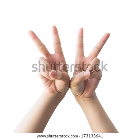 Symbolize the hands of woman isolated on a white background. - stock photo