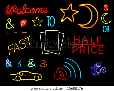 Symbols and words from neon signs for design elements - stock photo