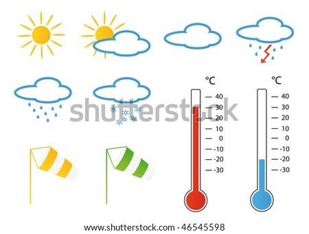 Symbols concerning wind and weather forecasts - stock photo